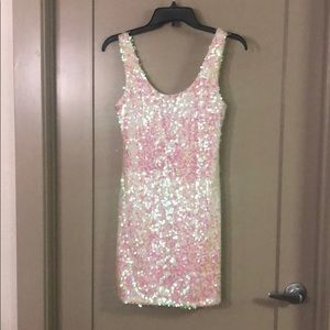 Women's Pink and White Sequin Dress Size Small